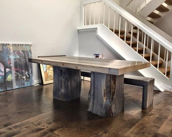 "Custom Handmade Grizzly Dining Table: 60""L x 36""W x 30""H With Bench"