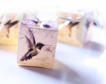 Hummingbirds on beautiful patterns night lights LED lit lanterns fairy lights for bedroom or nursery