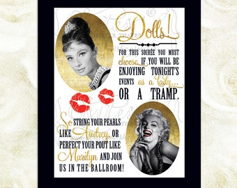 Marilyn Monroe, Audrey Hepburn, Great Gatsby Signs, Old Hollywood style, black and gold, rat pack, gatsby theme. {Digital File!}