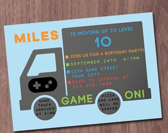 Video Game Truck Party Invitation Video Game Party Birthday Game Truck Invite Video Controller Gamer Gaming On Birthday Modern Thank You