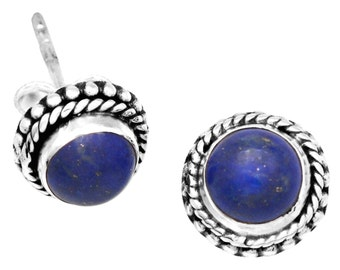 Lapis Gemstone Stud Earrings 925 Sterling Silver Jewelry IE21159