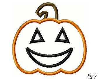 Jack-O-Lantern Applique Halloween Embroidery Design -INSTANT DOWNLOAD-