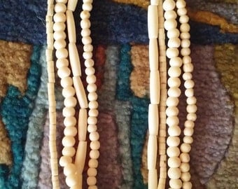 SALE Ivory Colored Bead~Bone~Shell Necklace
