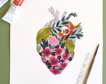 Flower and Vine Heart/ art print/ Watercolor/ anatomical heart/ illustration