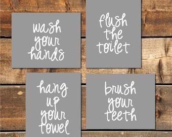 50% OFF SALE Bathroom Decor - 8x10 (Set of 4) Wash, Brush, Floss, Flush, Bathroom Wall Art, Bathroom Prints, Bathroom Rules, Printable Art