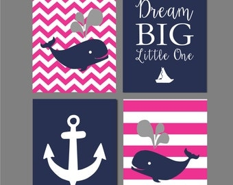 Nursery decor Whale Nursery Art Print Baby Shower Gift Gray Navy And Pink Nautical Wall decor Printable Art Dream big little one