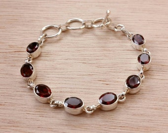 Garnet Bracelet Sterling Silver January Birthstone