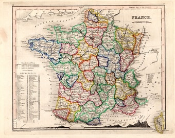 1853 France Antique Map Hand Colored Geography Cartography Atlas Maps