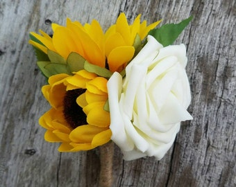 Sunflower and rose boutonniere, wedding boutonniere, summer boutonniere, rustic boutonniere, fall sunflower boutonniere, ivory rose