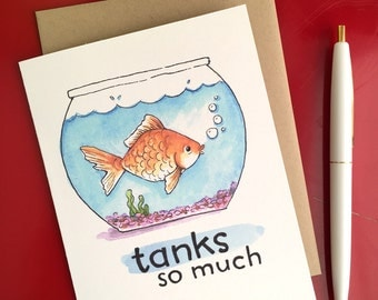Tanks So Much Thank You Goldfish Card