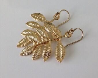 14K gold filled leaf earrings