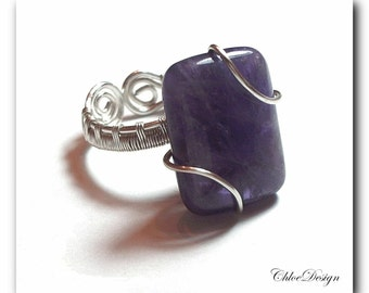 diy pdf tutorial Wire Wrapping Jewelry Adjustable Amethyst Ring,pattern,casual,elegant,gemstone,healing,Wicca,Reiki