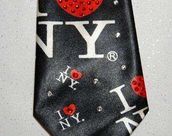 "Kid's ""I love New York"" rhinestone necktie"