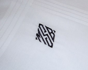 Diamond Framed Monogrammed Personalized Handkerchief - Thread Born Memories for Weddings, Birthdays and more
