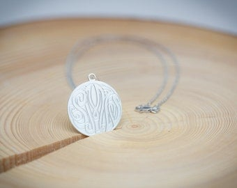 Silver Solid Monogram Necklace - 100% Handmade in USA