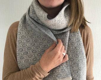 Ladies blanket scarf, ladies knitted lambswool scarf, handmade scarf, knitted winter scarf, woollen scarf, machine knitted, ogee pattern