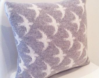 Knitted lambswool swift cushion, swift bird cushion, nursery cushion, nursery decor, knitted swift pillow, knitted bird pillow