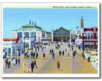 Boardwalk & Casino, Asbury Park NJ REPRO Vintage Postcard
