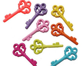 4 x plastic key charms, CHOOSE COLOURS
