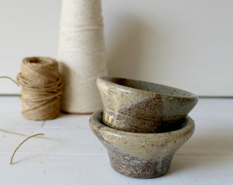 Small Pottery Dish Set - Dipping Bowl - Salt Pepper Dish