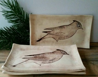 Stenciled bird tray
