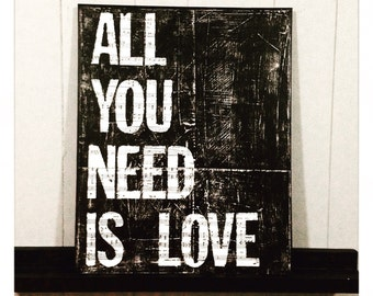 """Canvas Art Quote """"All You Need Is Love"""" 16 X 20 Canvas"""