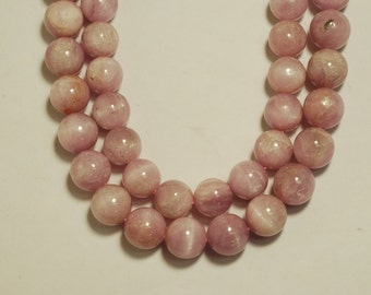 """A-Quality Kunzite Round Beads Smooth 12mm, 16""""L"""