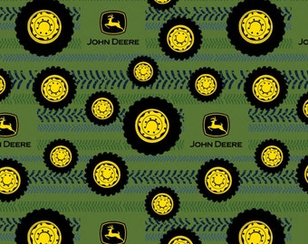 FLANNEL John Deer Tires On Tread Fabric From Springs Creative By the Yard