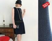 SALE - Black flapper dress, 1920s dress, art deco, Great Gatsby, Charleston jazz dance, 20s wedding, party dress in black and blue