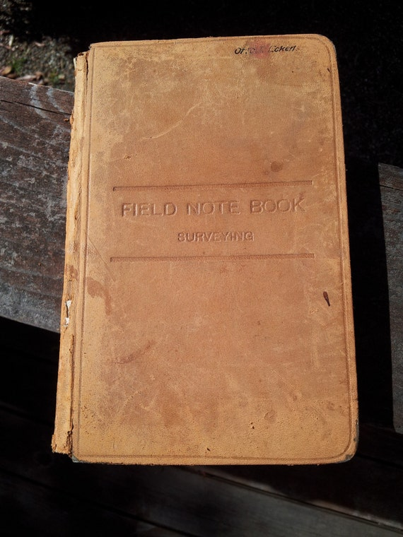 Antique Leatherbound Field Note Book Surveying Old Aged Brown