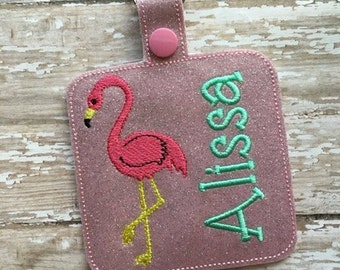 """3.5"""" Square - Flamingo  - Bag Tag - 5 x 7 ONLY - DIGITAL Embroidery Design"""
