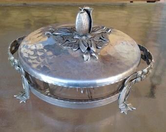 Aluminum Glass Dish, Rodney Kent Dish, Divided Condiment Dish, Hand Wrought Aluminum Tulip Dish, Hammered Aluminum Lid Condiment Dish, MCM