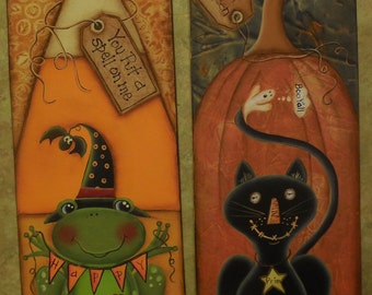 Black Cat, Frog Witch, EPATTERN, Halloween, Pumpkin,Candy Corn, Whimsical Pattern, paint it yourself, DIY,Background Texture,Happy Halloween
