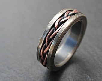 rustic braided ring silver copper, viking mens ring two tone, unique wedding band, viking wedding ring, mixed metal ring anniversary gift