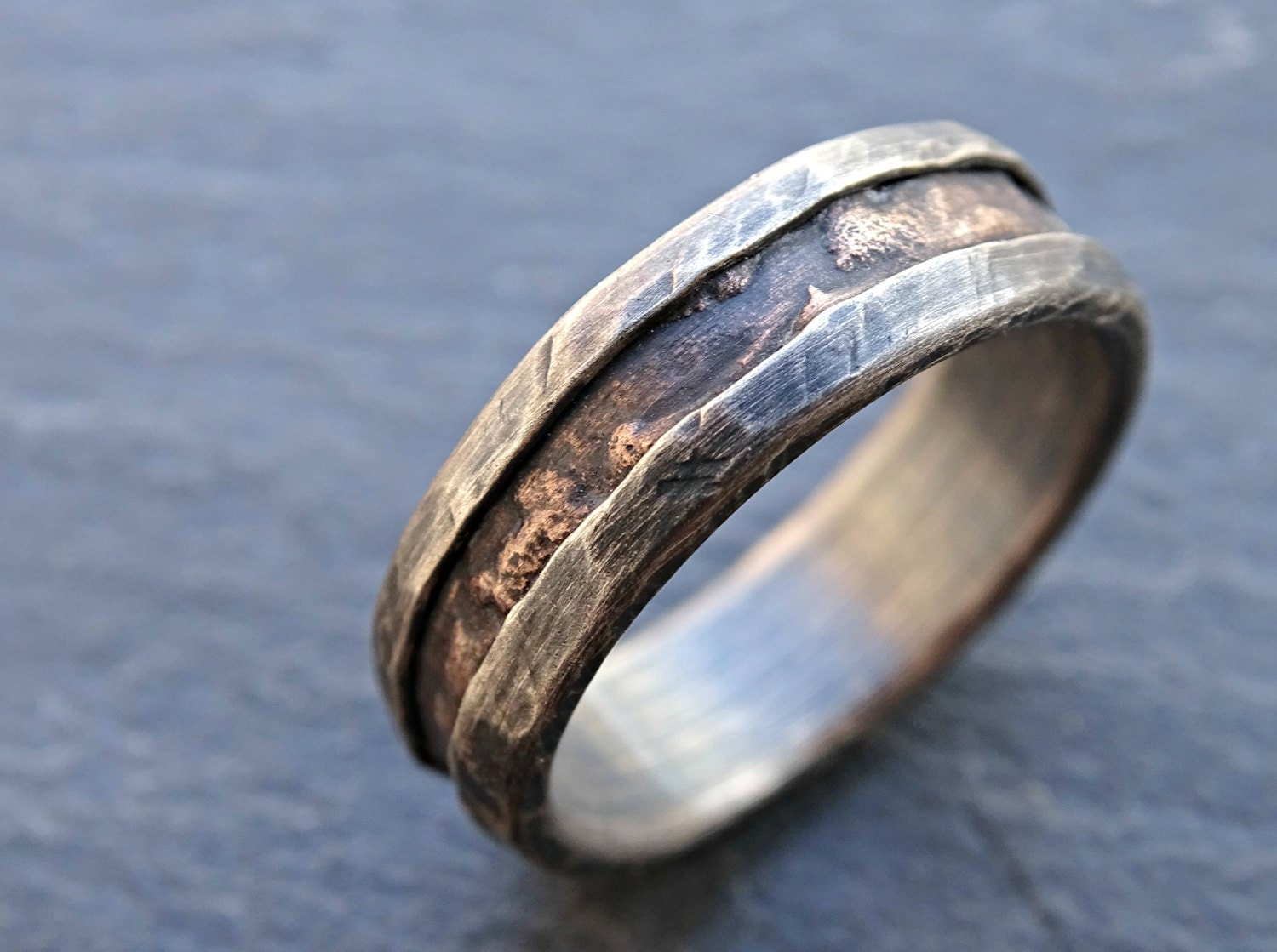 Cool Mens Ring Bronze Unique Wedding Band Bronze Silver Mens