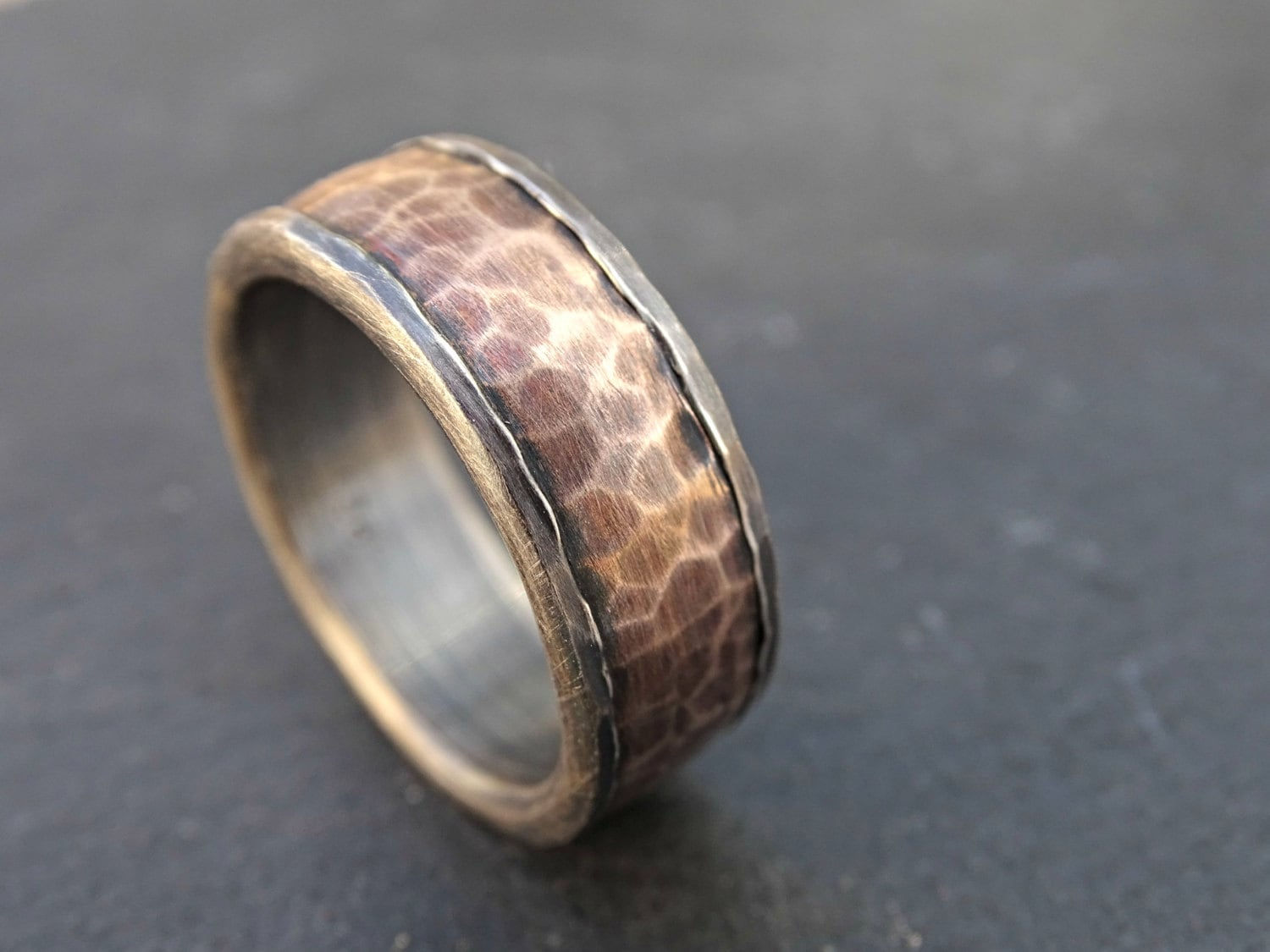 Forged Silver Bronze Ring Mens Wedding Band Viking Cool Mens