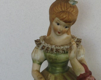Vintage Ceramic Lady Figurine, Green Dress with Ruffles and Flowers, Music Box Figurine, Young Lady Figurine
