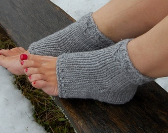 Knitted Pedicure Socks, Toeless Socks, Flip Flop Socks,  Hand Knit Socks for Pedicure