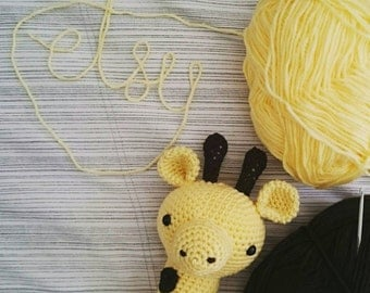 READY-TO-POST yellow and brown Sam the Giraffe crochet amigurumi soft toy