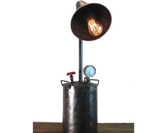 Industrial Style Factory Oil Grease Can Pump Steampunk Lamp Aged Finish w Real Parts