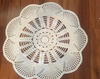 Emily White Doily Crochet Rug