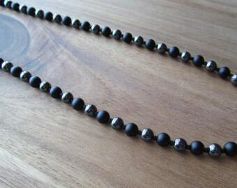 Men's Matte Onyx & Hematite Beaded Necklace, Men's Necklace, Matte Black Onyx, Long Necklace, Layering Necklace, Men's Jewelry, Mens Gift