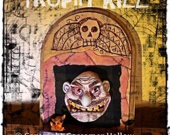 TROPHY KILL-Original Horror Goth Taxidermy Doll Woodburning