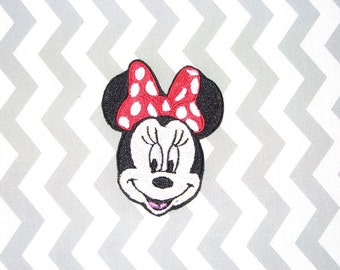 Mrs Misses Minnie Mouse Ears Pink Polka Dot Bow Iron on No Sew Embroidered Patch Applique