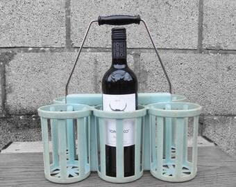 Blue Wine Bottle Holder - 1960s Original French