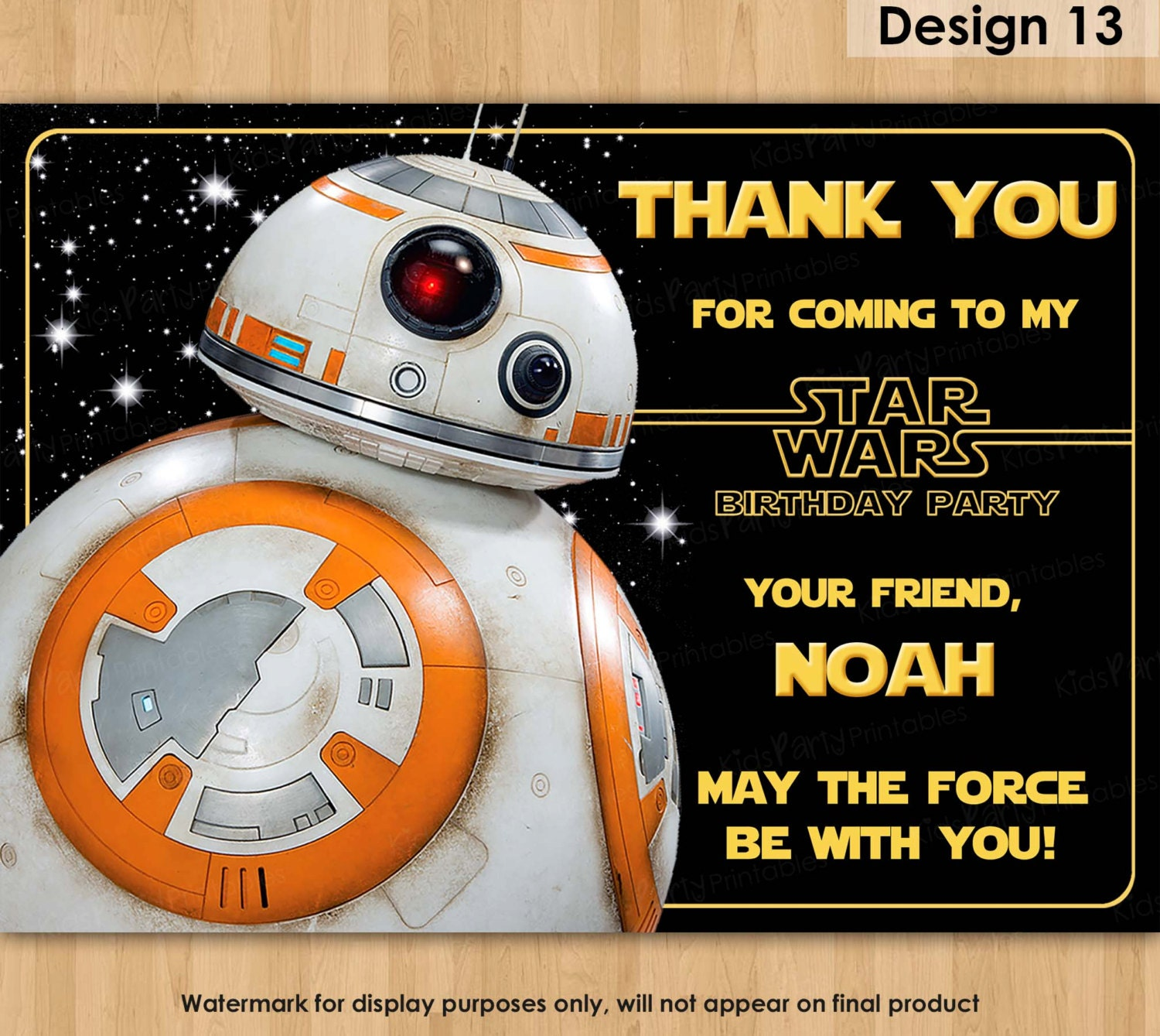 BB8 Thank You Note Star Wars Thank You Card PRINTABLE Star
