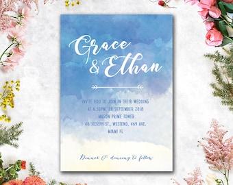 Digital - Printable Files - Blue Sand Beach Watercolor Wedding Invitation and Reply Card Set - Wedding Stationery - IDLP31
