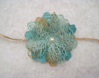 Newborn Tieback With Blue Layered Flower