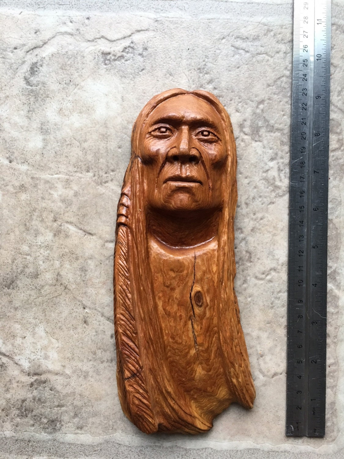 Amazing native american indian wood carving from master
