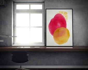 Red Abstract Art Print. Red and Yellow Modern Print. Colorful Modern Art. Modern Wall Art Print. Contemporary Art Print Red and Yellow